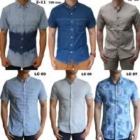Kemeja Pria Atasan Kerja Formal Baju Santai Berkerah Lengan Pendek - April 11 Biru, M