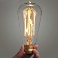 Lampu Pijar Vintage Model Bohlam Edison - 60W - ST64 - Warm White, 60W