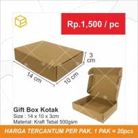 Gift Box Kotak Packaging Souvenir Bahan Brown 14x10x3 cm   GB3