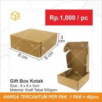 Gift Box Kotak Packing Packaging Souvenir Bahan Brown 8x8x3 cm   GB3