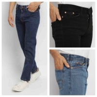 FTSL DENIM celana panjang jeans pria reguler fit standar basic