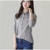 Kemeja Kantor Wanita Baju Atasan Wanita Ngantor Motif Stripe / Garis