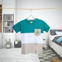 Baju Kaos Anak Laki-laki Salur Stripped Hijau Brand Hoofla Kids Keren