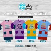Gamis Kaos Pocket Baju Gamis Anak Muslimah Lucu Branded Hoofla Kids - GKP 05, XS