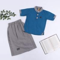 Hoofla Kids Koko Anak Setelan Celana Sarung Baju Lebaran Keren Ammar - NKH01, XS
