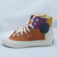 Sepatu Warrior Sparta Rainbow Orange High Cut Special Edition Corduroy