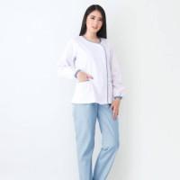 Baju Suster Lengan Panjang Zoe White Blue / Seragam Baby Sitter