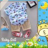 Setelan baju Kemeja Bayi Laki-laki Lengan Pendek 0-4 tahun CAR&BUS