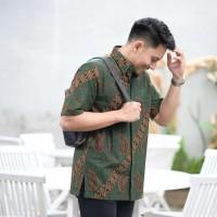 Baju Batik Pria Pendek PREMIUM Seragam Kantor Modern Parang Ijo Jumbo