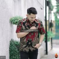 Baju Batik Pria Pendek Prabu PREMIUM Seragam Kantor Modern Merah Jumbo
