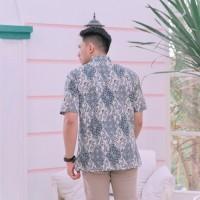 Baju Batik Pria Pendek Katun Modern Seragam Kantor Biru Big Jumbo 5L