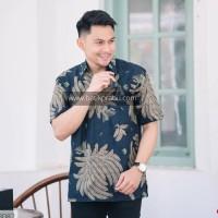 Baju Batik Pria Pendek PREMIUM Seragam Kantor Modern Navy Elegan Jumbo