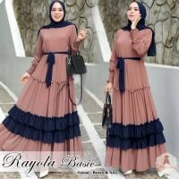 Rayola Basic Long Dress - Baju Gamis Muslim Sultan Wanita Remaja Bahan
