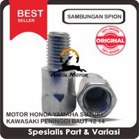 Sambungan Spion Motor Honda Yamaha Suzuki Kawasaki Peninggi Baut 12 14