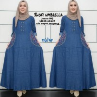 baju wanita gamis shofi muslim jeans modern unik modis - Biru - Biru