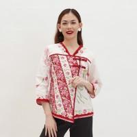 Tangga Putih T0114 , Baju Blouse Atasan Batik Wanita Modern Nona Rara - M