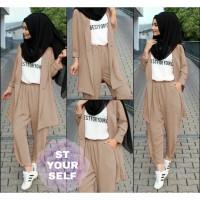 baju setelan wanita muslimah 5 set baju celana wanita terbaru kekinian