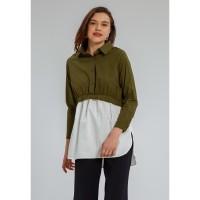Minimal Alviria Collared Tunic Khaki Green