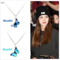 Kalung Titanium Wanita Liontin Kupu Kupu Lisa Blackpink Gaya Korea - Blue01
