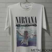 kaos distro musik Band Nirvana Nevermind white - tanpa jahitan samping