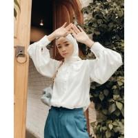 Kellya top atasan blouse renda wanita kenami bahan twiscone size fit L