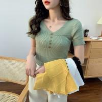 Korean Button T-Shirt C446 Fashion Busana Atasan Wanita Blouse Rajut