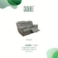 Sofa Kulit Asli Recliner Minimalis CASABEL ALMA 2 Kursi - Grey