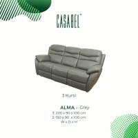 Sofa Kulit Asli Recliner Minimalis CASABEL ALMA 3 Kursi - Grey