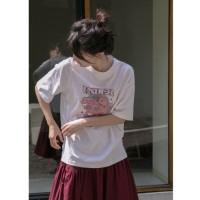 Mode halo canon asli domba cetak lengan pendek t-shirt wanita 2020