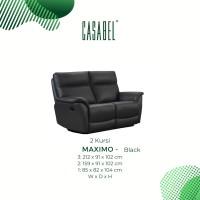 Sofa Kulit Asli Recliner Minimalis CASABEL MAXIMO 2 Kursi - Black