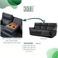 Sofa Kulit Asli Recliner CASABEL MAXIMO 3 Kursi - Black w Table
