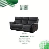 Sofa Kulit Asli Recliner Minimalis CASABEL MAXIMO 3 Kursi - Black