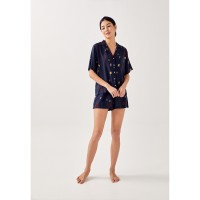 Paige Lounge Shirt in Homecoming - Navy Blue