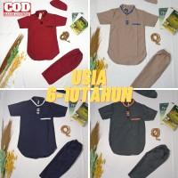 Baju Koko Setelan Anak Laki-laki umur 6-10 tahun Bahan Katun Madinah