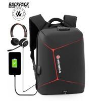 Tas Ransel Backpack BIAOWANG ORIGINAL 2906 Polyester Waterproof - list red