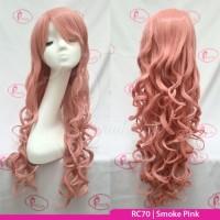RC70 Pink | Wig long curly wavy / panjang keriting / cosplay color