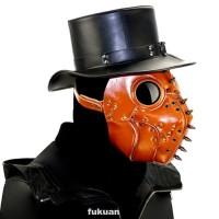 Topeng Doctor Plague Adjustable Bahan Kulit Pu Dengan Paku Metal