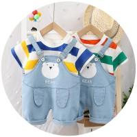 ANSOP BEAR SALUR DENIM 66808 Baju Anak Laki LakiModel Jumpsuit Overal - BLUE YELLOW, XL