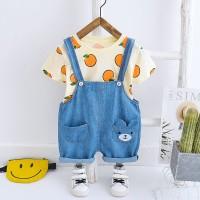 ANSOP ORANGES BEAR EBV Baju Anak Laki Import Model Jumpsuit Overal - CREAM, M
