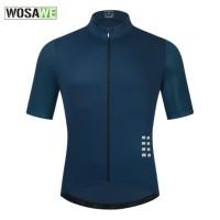 Baju Jersey Sepeda Pria WOSAWE Navy Lengan Pendek Bahan Adem BL247N - xxxl