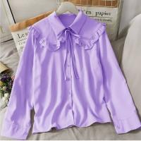Jeni blouse polos korea lengan panjang wanita bahan twiscone size L