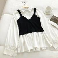 Utami blouse top wanita warna putih lengan bahan twiscone size fit L