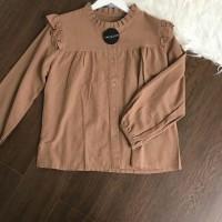 Puffy top blouse polos wanita lengan panjang bahan twiscone size fit L