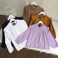 Puffy blouse basic wanita polos lengan panjang bahan twiscone size L