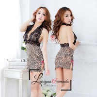 Set Lingerie + G String Seksi Model Gaun Lace Macan LG205