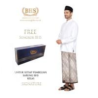 Sarung BHS Signature Gold Motif Kawung Tumpal Dua Warna Abu Orange