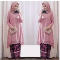 Baju Setelan Kebaya Modern Brukat Brokat Wanita Muslim Rok Batik