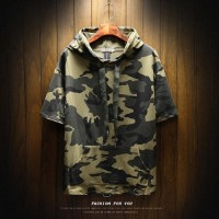 Pria lengan pendek T-shirt Korea busana kamuflase sweater hoodie