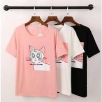 TERMURAH Atasan Kaos Wanita T Shirt Hello Mao Xing Ren Lucu Unik