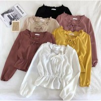 Fashion Mikela blouse top wanita lengan panjang bahan twiscone size L